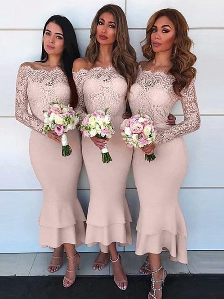 Sheath Off-the-Shoulder Long Sleeves Ankle-Length Lace Chiffon Bridesmaid Dresses