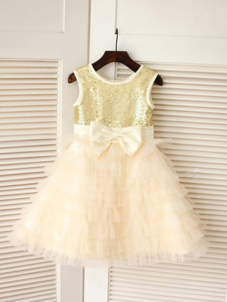 The Most Fashionable A-line/Princess Scoop Sleeveless Bowknot Long Tulle Dresses