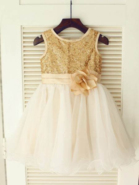 The Most Fashionable A-line/Princess Scoop Sleeveless Sequin Long Organza Dresses