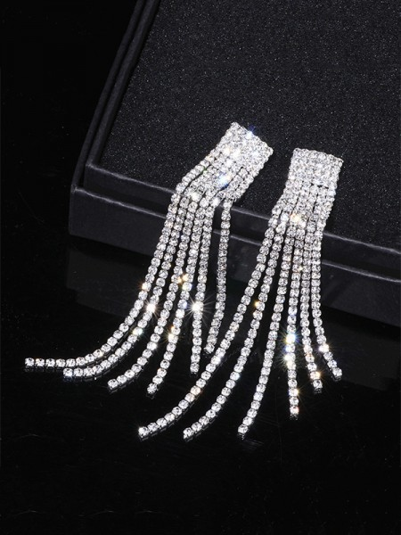 Women's Fancy Rhinestone Long Tassel Earrings